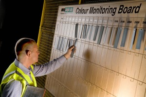 Colour checking board at roofing materials factory